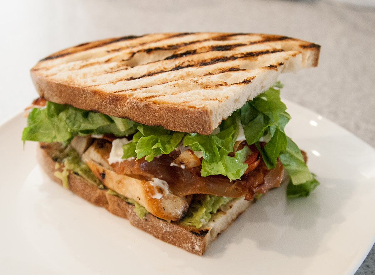 Grilled chicken sandwich, bacon, avocado, aioli | the food we like